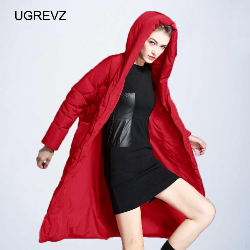Женская длинная Кофта свободного кроя зимняя теплая куртка женская плюс размер пальто зимняя куртка женская 2019 новая стеганая парка с капюшоном