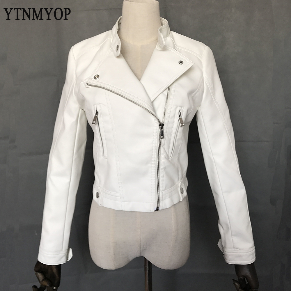 White   Leather   Coat Women New Short Zipper Female   Leather   Jacket Casual Faux   Leather   Clothing YTNMYOP   Suede