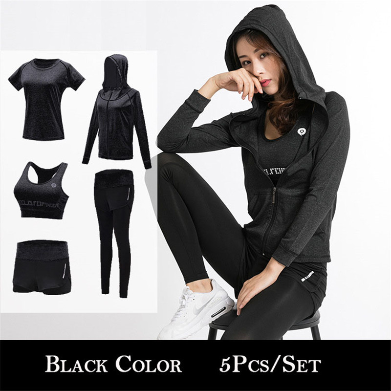 Sports Bra+sport Leggings+yoga Shorts+top Quick Dry Skating Dresses-girls Security & Protection 5pcs New Yoga Suits Women Gym Fitness Running Tracksuit Sport T-shirt
