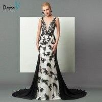 Dressv Noir et Blanc col v longue robe de soirée sexy dos ouvert sirène sans manches appliques cour train femmes formelle de soirée robe