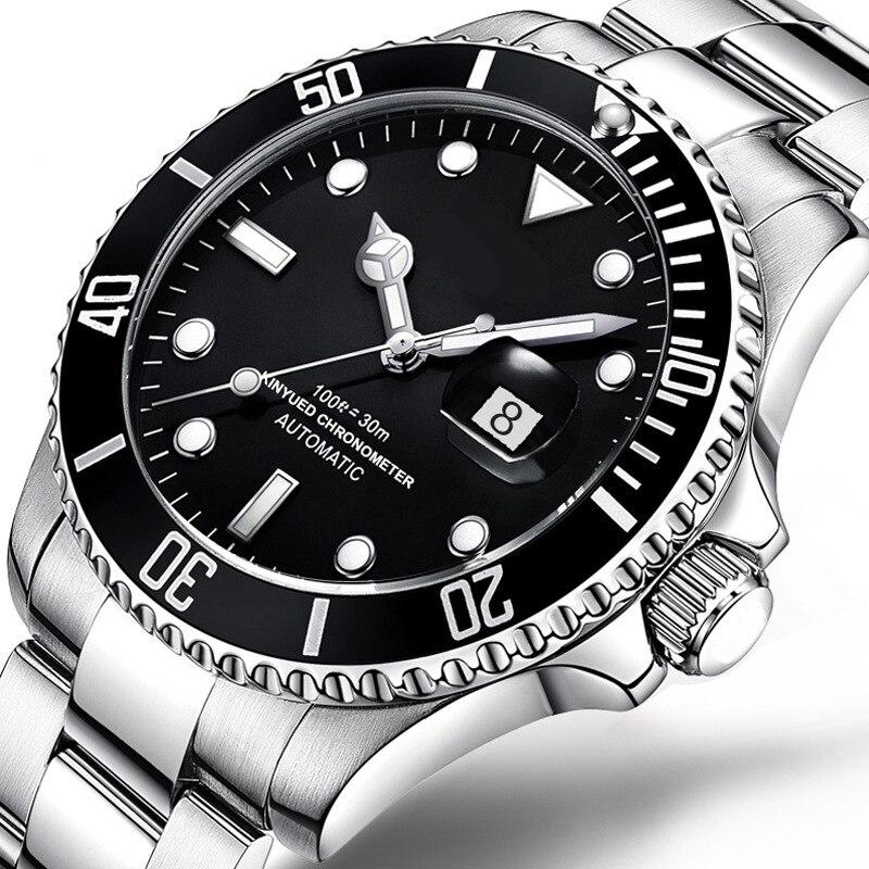 Black Dial Mens Watch Automatic Mechanical Wristwatch Stainless Steel Waterproof Wrist Watch Man music note dial stainless steel watch