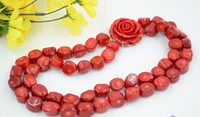FREE SHIPPING>>@> A329 2row 19 17mm real baroque red coral bead necklace