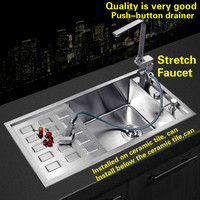 Free Shipping Luxury Kitchen Push Button Drainer Manual Sink Single Trough Individuality Standard Durable Hot Sell