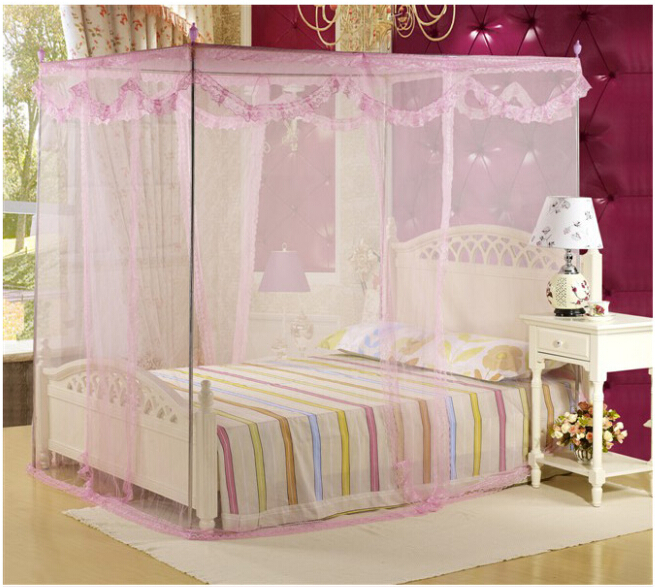 4 Post Bed Canopy Four Corner Point Insect Mosquito Net Fly Netting Mesh Beds Canopy Bedroom Curtain No Frame/Holder-in Mosquito Net from Home u0026 Garden on ... : four point bed canopy - memphite.com