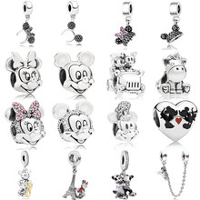 Classic 925 Sterling Silver Mickey $ Minnie Clip Charm Fit pandora Bracelet Bangle Mangle Key Safety Chain Pendant DIY Jewelry(China)