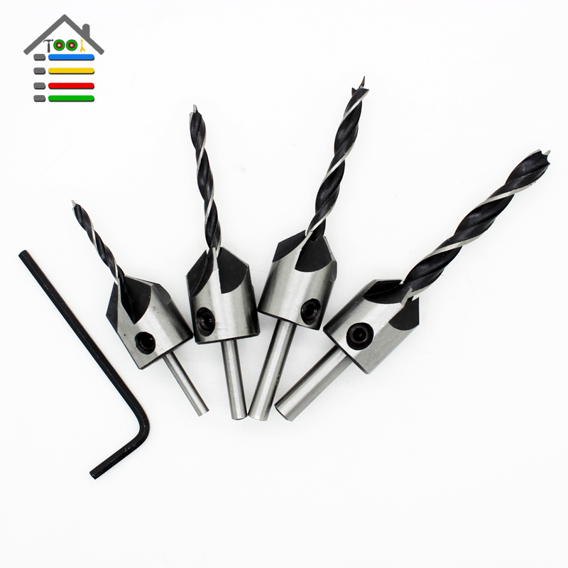 Free shipping 4pcs 5 Flute Woodworking Chamfer HSS Countersink Drill Bit Set Wood Drilling Quick Change 3mm 4mm 5mm 6mm+Wrench free shipping of 1pc hss 6542 made cnc full grinded hss taper shank twist drill bit 11 175mm for steel