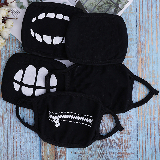1PC Black Anime Cartoon Kpop Lucky Bear Unisex Muffle Face Mouth Masks Kawaii Cotton Dustproof Mouth Face Mask 12 Styles 4