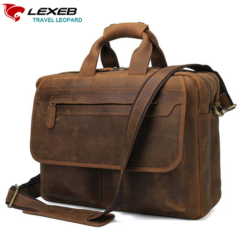 купить LEXEB Genuine Leather Briefcase For Men Business Travel Bag Vintage Crazy Horse Bags , Attached 15 Inch Laptop Case In Brown по цене 7672.22 рублей