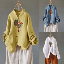 Женская блузка из хлопка и льна размера плюс, женская рубашка, винтажная Повседневная Блузка с вышивкой для женщин, blusas mujer de moda