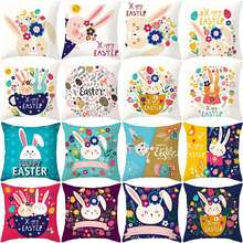 Happy Easter pillowcase cute rabbit pillow case adorable kids gifts 45*45cm pillowcover