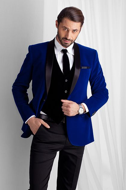 2017 Latest Coat Pant Designs Royal Blue Velvet Men Suit Slim Fit ...