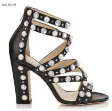 2018 glitter women white pearl sandals diamond high heels party shoes  gladiator sandals wedding shoes summer rhinestone sandals 29b622bd7a5a