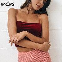 Aproms 90s Basic Velvet Cropped Camis Fashion Women Streetwear Sexy Elastic Straps Crop Tank Top Short