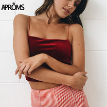 Фотография Aproms 90s Basic Velvet Cropped Camis Fashion Women Streetwear Sexy Elastic Straps Crop Tank Top Short Bustier T-shirts Tee