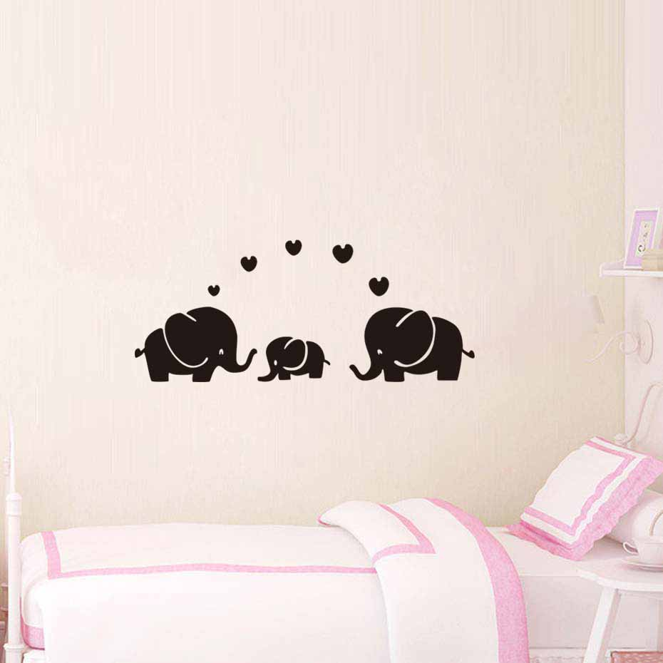 Us 1 92 26 Off Diy Color Elephant Family Wall Sticker For Kid Bedroom Art Decal Nursery Room Removable Wallpaper Home Decor Vinyl Self Adhesive In
