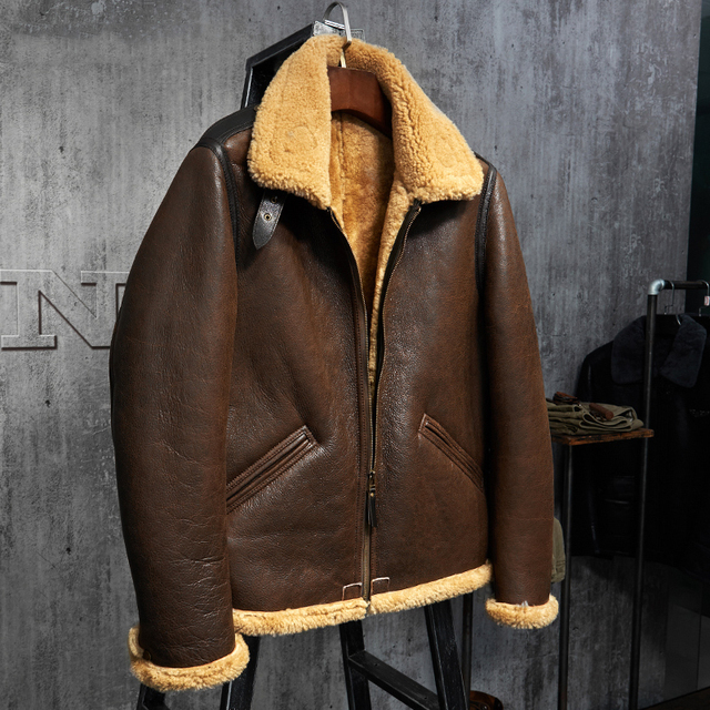 770c9731458 Original Flying Jacket B3 Jacket Men s Shearling Leather Jacket Men s Fur  Coat Aviation Leathercraft Pilots Coat