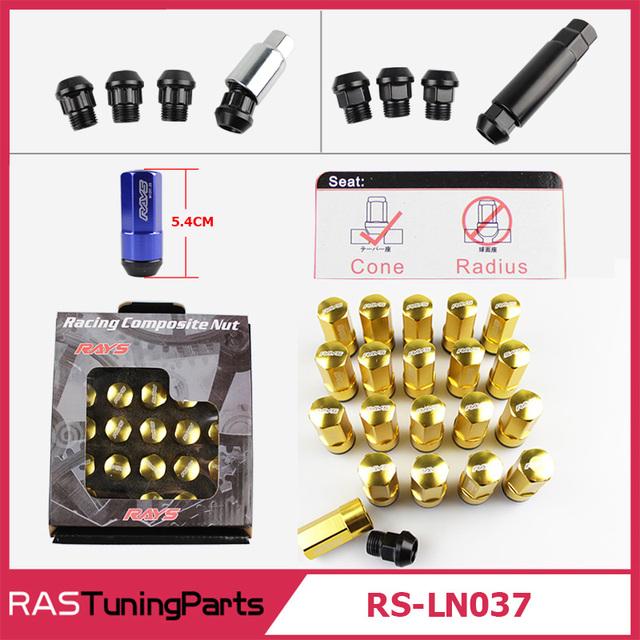 Nueva Llegada RAYS Racing Wheel Lug Nut Tuerca Antirrobo Aleación De Aluminio de Bloqueo Compuesto Perno M12X1.5 M12X1.25 RS-LN037
