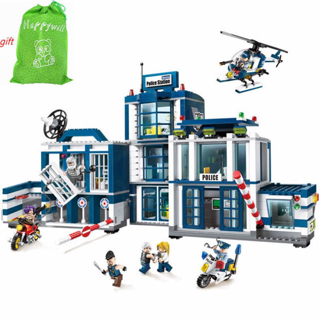 happywill 951pcs enlighten 1918 city series mobile police station helicopter model playmobil building blocks bricks toys - Playmobile Police