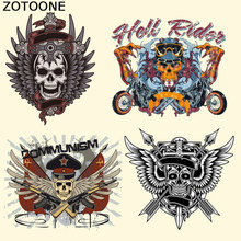 ZOTOONE New Motorcycle Pattern Patches for Clothing DIY T-Shirt Parche Fashion Decoration Stickers Iron on Patch Transfer Paper
