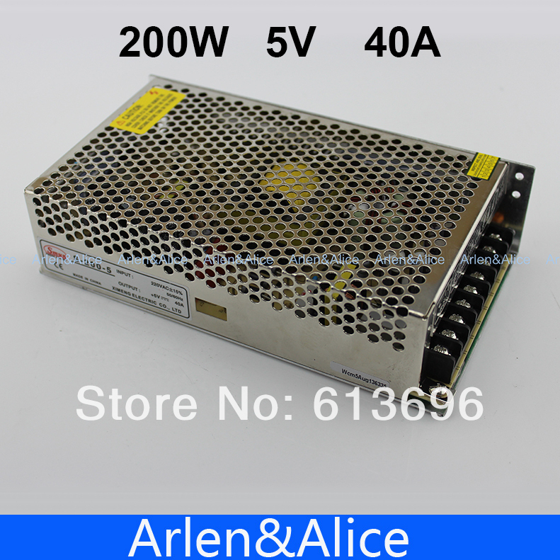 200W 5V 40A Single Output Switching power supply for LED Strip light AC to DC ac 85v 265v to 20 38v 600ma power supply driver adapter for led light lamp