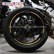 Para Aprilia Benelli MV Agusta KTM Kawasaki Duca Rueda Pegatina Reflectante Raya del Borde de La Motocicleta de La Bici Adecuado 17.18-pulgadas de neumáticos