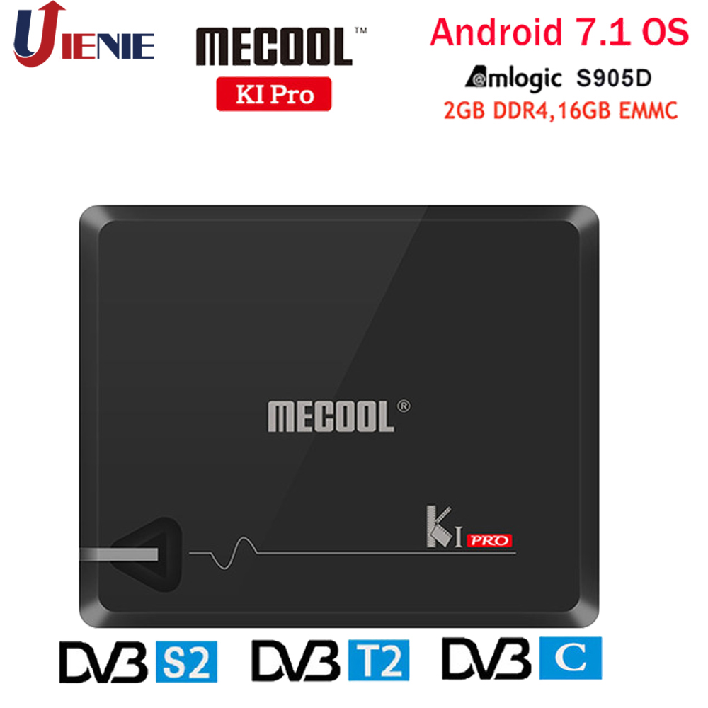 MECOOL KI PRO Set Top Box Android 7.1 Amlogic S905D Quad 2G+16G DVB-T2&S2/DVB-T2/DVB S2 DVB-C Set Top Box 4K Ultra HD Player