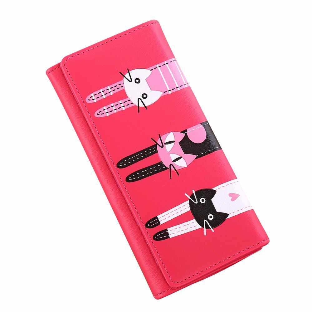 OCARDIAN Wallet For Credit Cards Cartoon Cut  Marvel Women Cat Pattern Coin Purse Long Wallet Card Holders Handbag Dropship M5