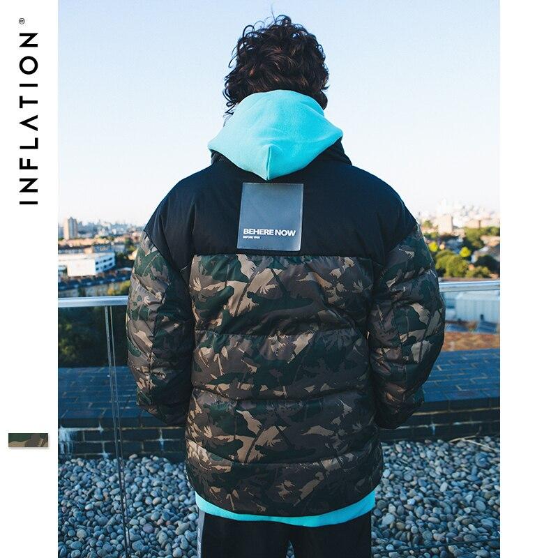 L'INFLATION 2018 Hommes D'hiver Vestes Blanc Duvet de Canard Veste Homme Manteau Chaud Camouflage Streetwear Icône De la Mode Parkas Veste 8767 w