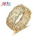 Женщины свадебные аксессуары дубайская золото ювелирные изделия браслет невеста горный хрусталь кристалл большой манжеты выдалбливают браслеты браслет