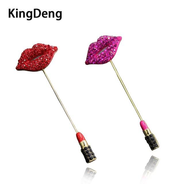 Kristal Merah Lipstik Bros Enamel Pin Jaket untuk Wanita Aksesoris Pin Rhinestone Kerah Pin Ciuman Merah dan Merah Muda Karl Perhiasan