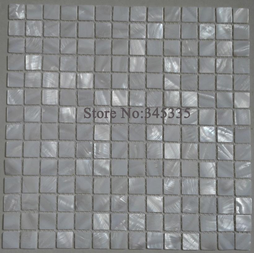 cuadrado blanco shell mosaico azulejo ncar baldosas backsplash de la cocina de ducha bao azulejos de