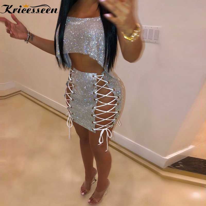 Kricesseen Sparkle Laced-Up Crystal Skirt Set Two Piece Shiny Crystal Studded Chirstmas Party Club Skirt Suits Birthday Outfits