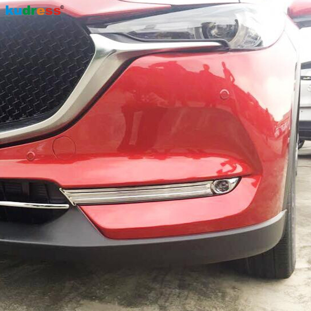 цены For Mazda CX5 CX-5 2017 2018 ABS Chrome Front Fog Light Lamp Eyebrow Bumper Eyelid Cover Trim Bezel Garnish Moulding Accessories