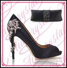 Aidocrystal 2016 Charming Italienische Schuhe Mit Passenden Taschen Strass Schwarz Hohe Qualität African Schuhe Und Taschen für Hochzeit