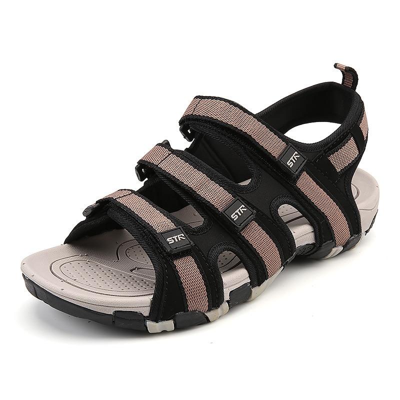 Fashion Casual Solid Gladiator Sandals for Men Basic Flat Beach Sandals Hook Loop PU Platform Sandale Homme 8