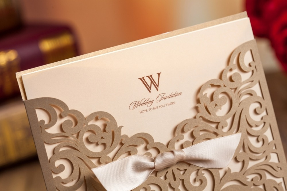 Us 62 6 Wishmade Free Shipping Gold Laser Cut Bow Knot Wedding Invitations Cards Hot Sale Cw5011 In Cards Invitations From Home Garden On