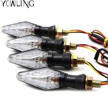 Wskaźniki motocyklowe światła węgla hamulca Turn Signal wskaźniki migacz bursztynowy światła LED 12 V uniwersalny cafe racer motocicleta