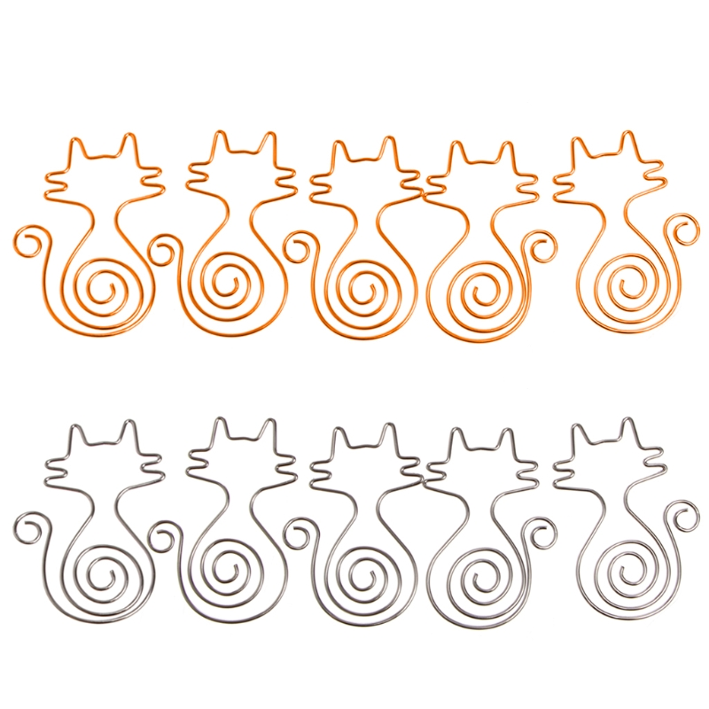 1 Set 5 Pcs Cute Cat Metal Paper Clips Pin Book Bookmark Memo Clip Office School Stationery New