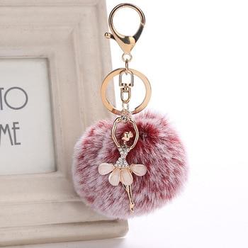 8cm Beautiful Chaveiro Angel Keychain Fur Pom Pom Dancing Ballerina Key Chain Bag & Car Hanging Ornament