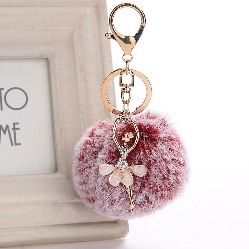 Women Chaveiro Angel Keychain 8cm Fur Pom Pom Key Chain Faux Rabbit Hair Bulb Bag Car Ornaments Fox Fur Ball Pendant Key Ring