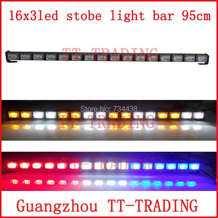 16x3 led Police strobe lights vehicle light bar car warning emergency DC12V RED BLUE WHITE AMBER