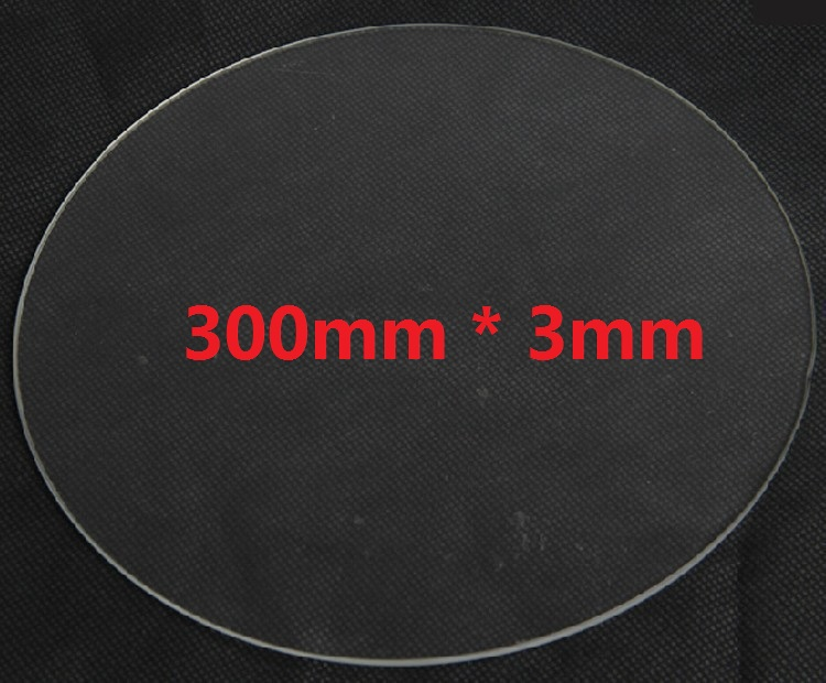 300mm * 3mm Borosilicate diameter 30cm thickness 3mm Glass plate for 3D printer kit part Rostock delta KOSSEL flsun 3d printer big pulley kossel 3d printer with one roll filament sd card fast shipping