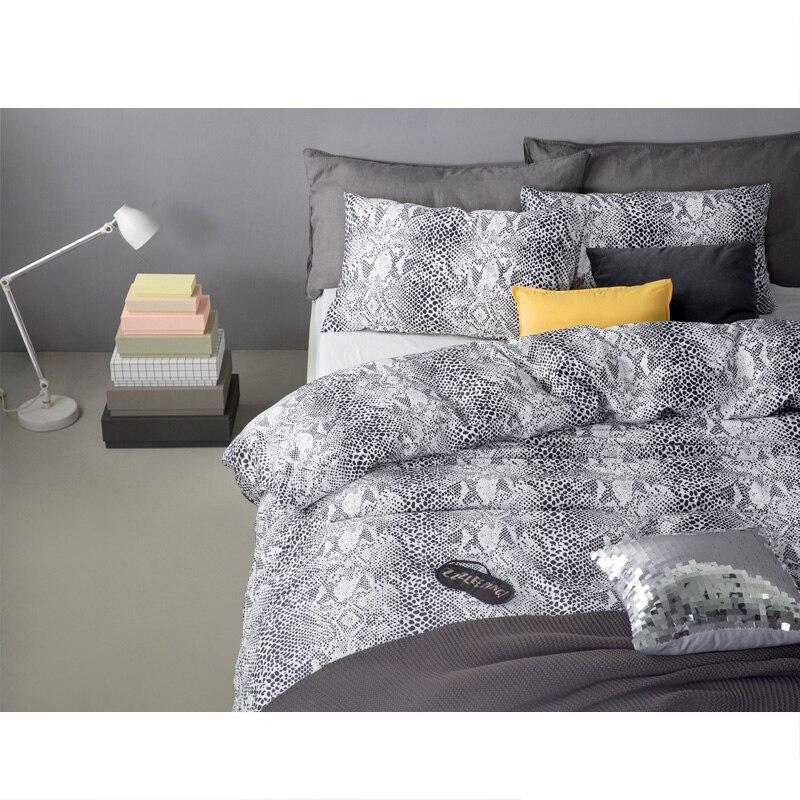 Бренд змея кожи шаблон хлопок удобный комплект постельных принадлежностей постельное белье покрывало простыней пододеяльник подушка