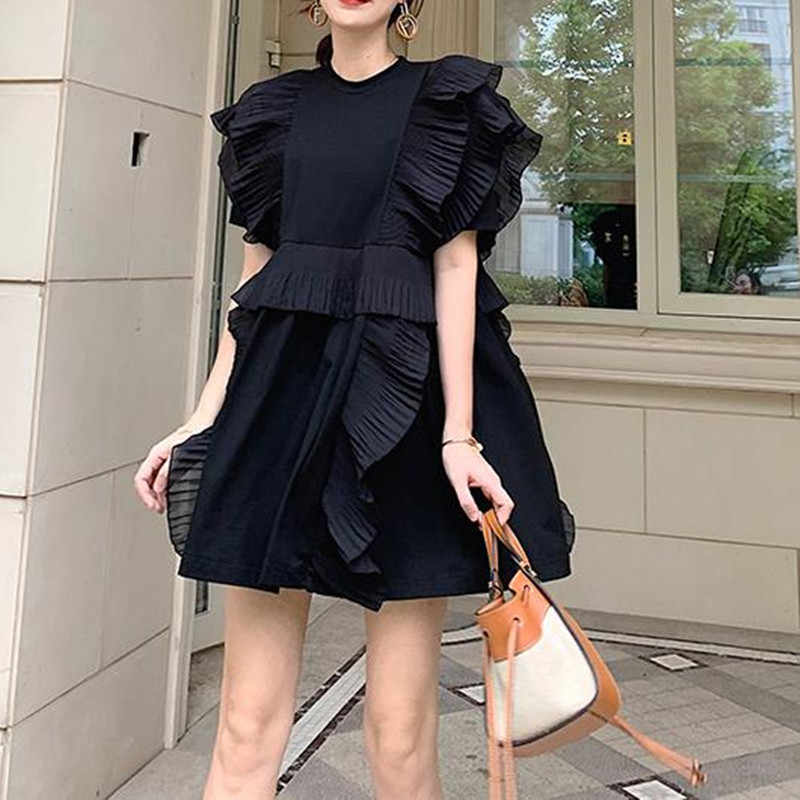 New 2020 Summer White Orange Black Prairie Chic Sweet Short Women Dress O-Neck Butterfly Sleeve Loose Vintage Casual Vestidos