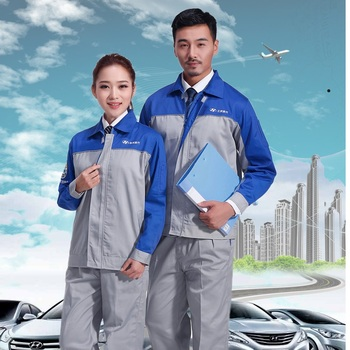 (10 set-Shirt&Pant)Long sleeve smock suit 4 s shop cosmetology mechanics mechanics after-sales coveralls male Custom logo фото