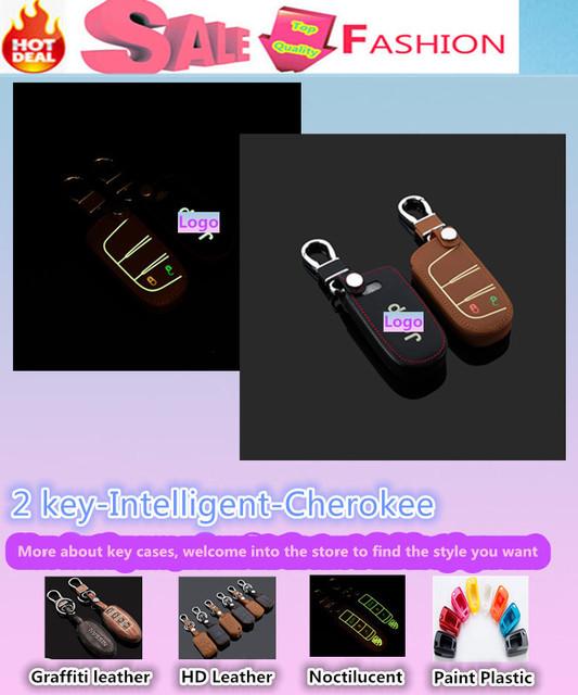 De calidad superior para Cherokee cubierta de diseño de coches detector luminoso teclas de cuero casos bolsa llavero cadena inteligente carpeta / fold