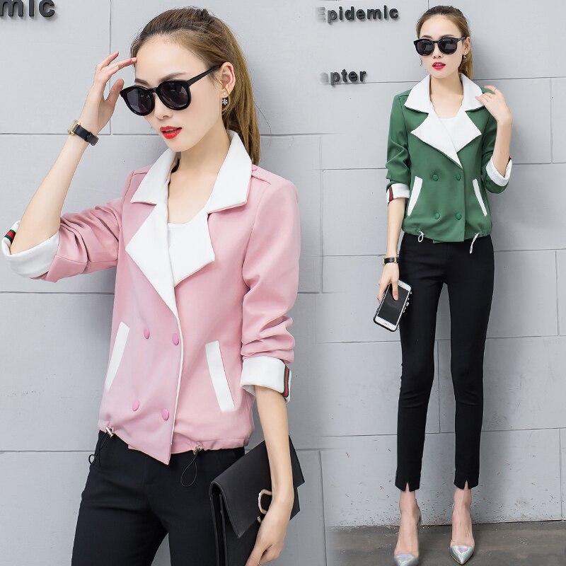 Couleur 2017 Costume Femme Court vent Sauvage Solide Printemps pink Petit Et Automne Paragraphe Yagenz Veste Nouvelle coréen Casual Green Coupe 1SOqSZdw