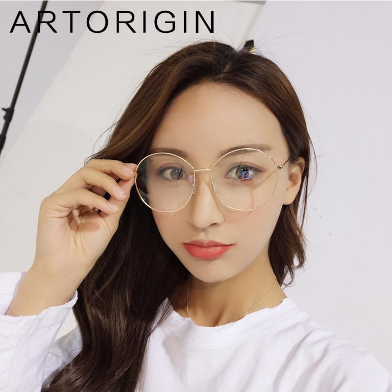 2018 Oversize Glasses Frames For Women Metal Round Clear Glasses Female Ladies Eyeglasses Optical Decoration Frames 9823