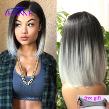 Ombre wig black gray white mix color Afrian women short synthetic Wig two Tone Colored Light Grey Straight short bob cosplay Wig