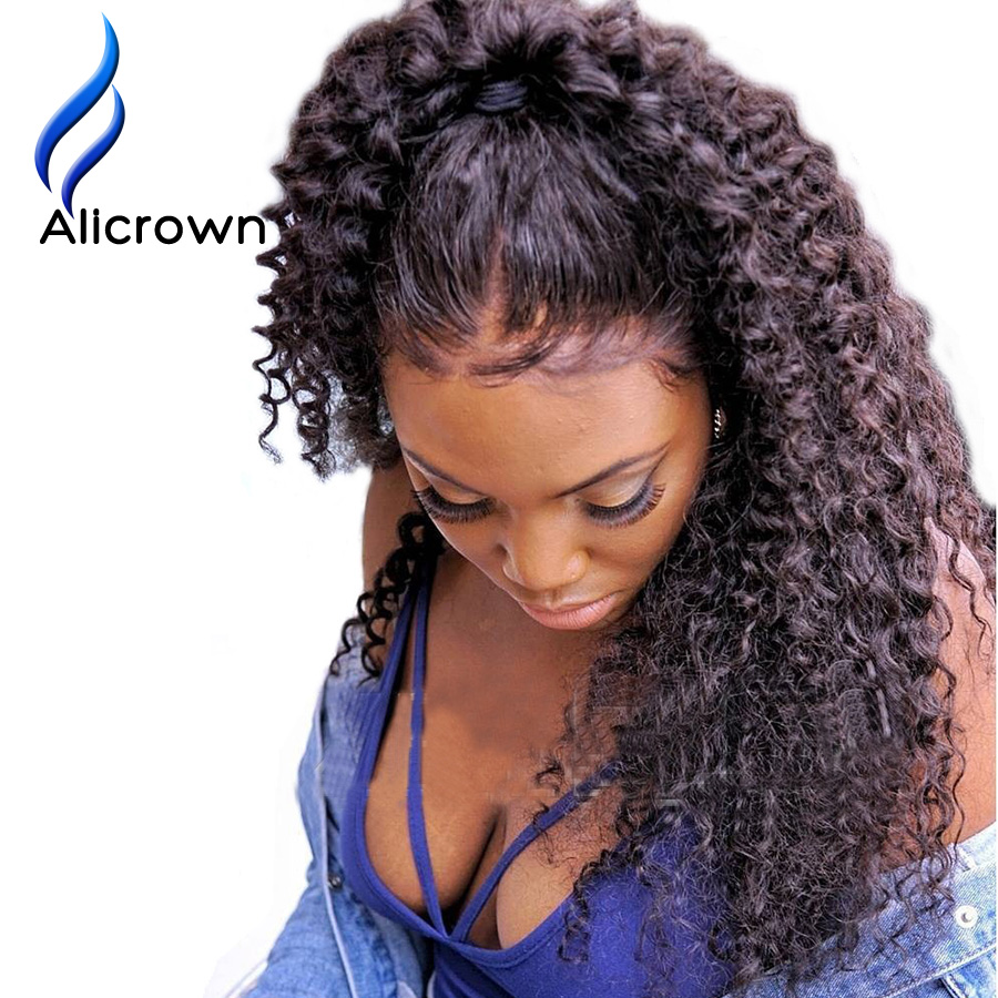ALICROWN Kinky Curly Lace Front Human Hair Wigs For Women With Baby Hair Brazilian Remy 13*4 Lace Front Wigs Pre Plucked 130%-in Human Hair Lace Wigs from Hair Extensions & Wigs    1